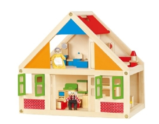 Viga Toys Houten Poppenhuis OMA en OPA