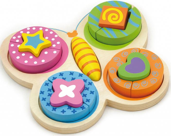 Viga Toys vormenpuzzel Vlinder junior hout 13 stukjes