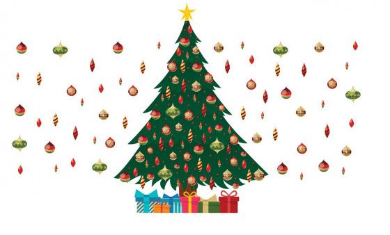 Walplus decoratiesticker kerstboom 190 x 115 cm PVC groen-rood 2 delig