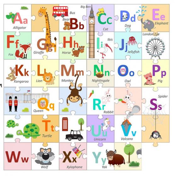 Walplus Londen Alfabet Kids Decoratie Sticker Puzzel van het Alfabet 20x20 cm 36 stuks