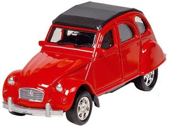 welly metals citroen 2cv  7 6 cm red