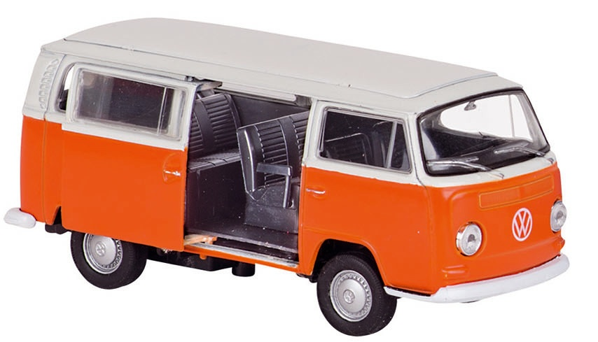 Welly Metalen Volkswagen Bus 1972: 11,6 cm Oranje