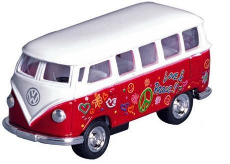 Goki Metalen Volkswagen Microbus: Rood Met Opdruk