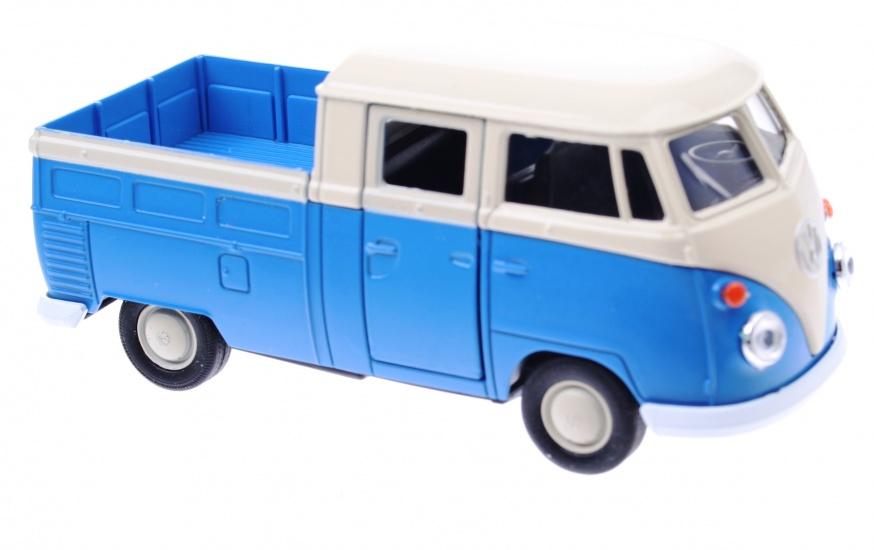 Welly Metalen Volkswagen T1 Doka Pick UP: 11,5 cm Blauw