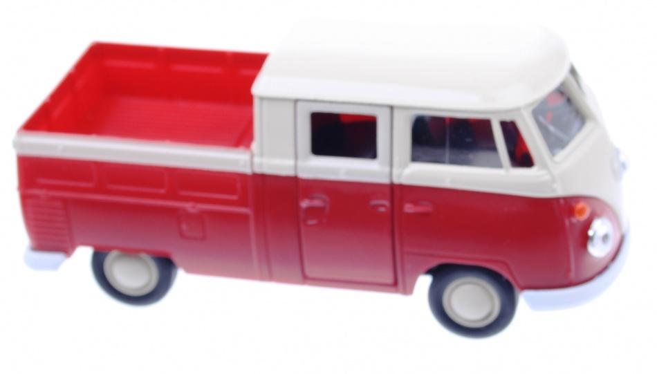 Welly Metalen Volkswagen T1 Doka Pick UP: 11,5 cm Rood