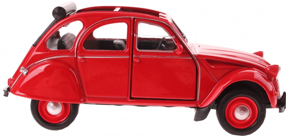 Welly schaalmodel Citroen 2CV cabrio rood 11,5 cm