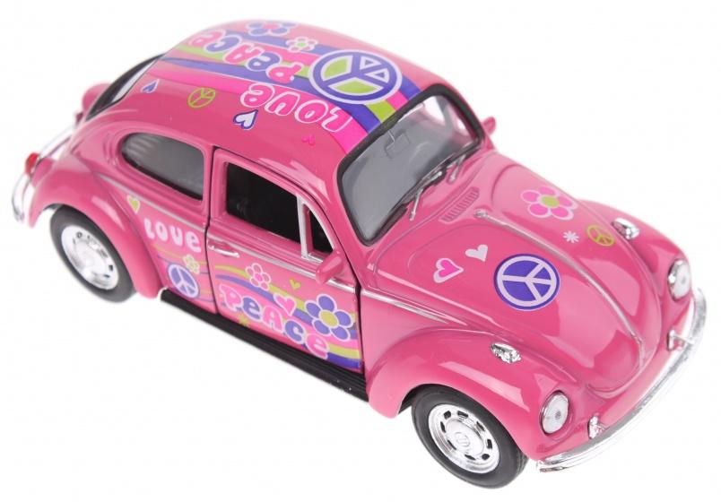 Welly schaalmodel Volkswagen Beetle flower power peace roze
