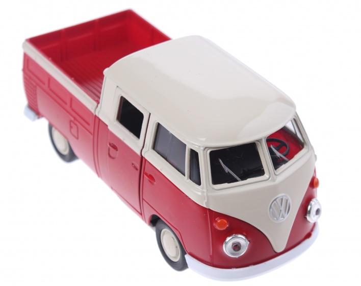 Welly schaalmodel volkswagen pick up bus rood 180497