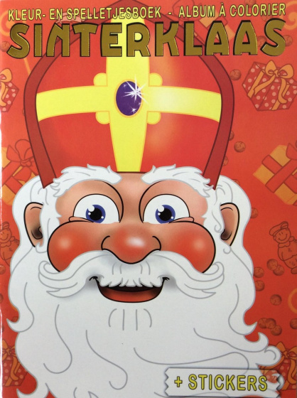Sinterklaas color- and sticker book junior A4 red