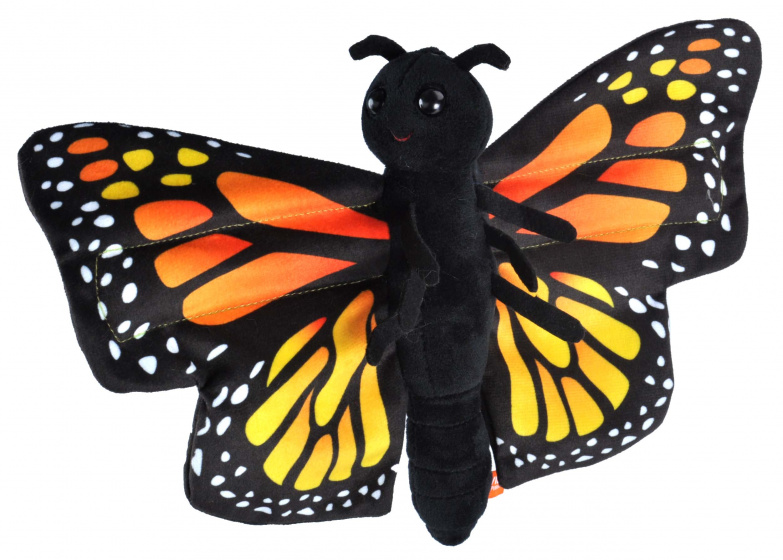cuddly toy monarch butterfly junior 20 cm plush black