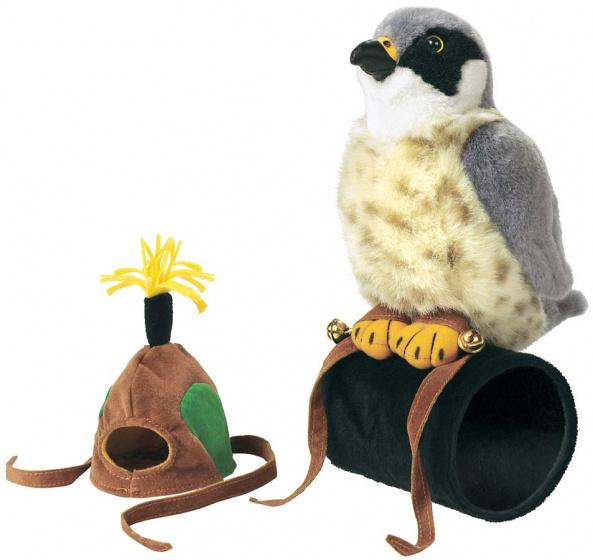 Wild Republic knuffel roofvogel 18 cm pluche grijs 2 delig