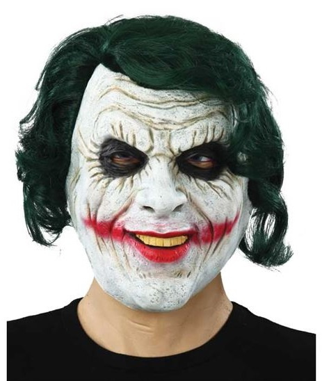 Witbaard masker the joker rubber wit/zwart one-size