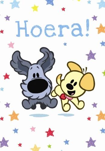Woezel en Pip Wenskaart Woezel en Pip: Hoera!