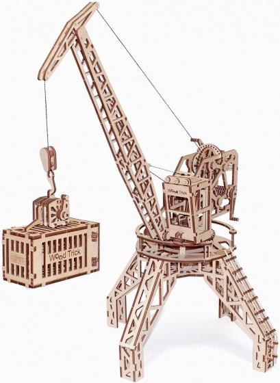 Wood Trick model kraan met container hout 31 x 57 cm
