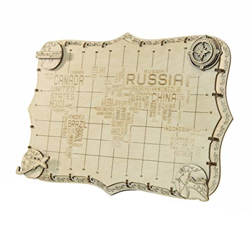 Wooden City 3D puzzel wereldkaart 34 x 23 x 2 cm woorden