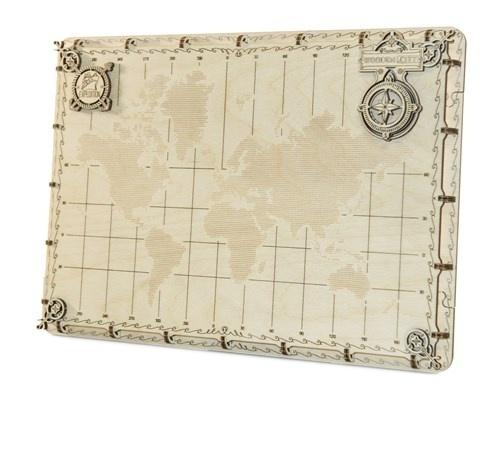 Wooden City 3D puzzel wereldkaart 35 x 25 x 2 cm punten