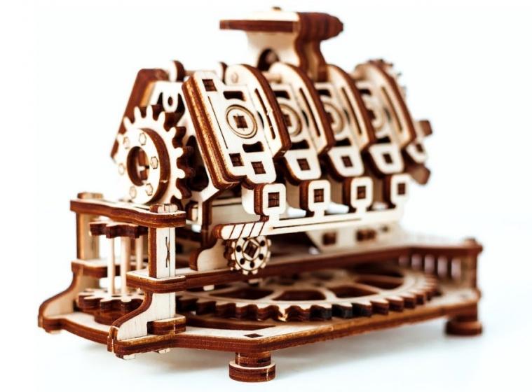 Wooden City Houten 3D puzzel V8 motor 14 cm