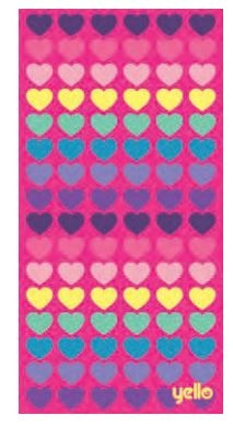 Yello badlaken hearts: 75 x 150 cm