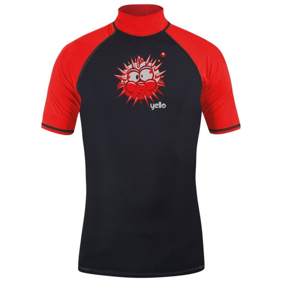 Yello UV werend shirt puffer jongens zwart/rood 4 jaar