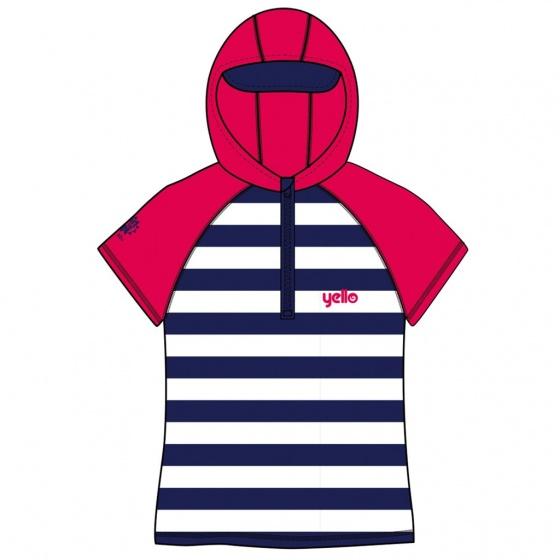 Yello UV werende hoodie stripes junior blauw/wit 1 2 jaar