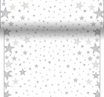 Duni chemin de table Shining Star480 cm papier blanc/gris