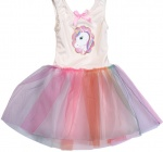Free and Easy tutu-jurk eenhoorn wit/multicolor
