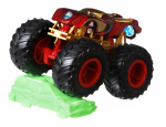 Hot Wheels monstertruck Iron Man 9 cm rood/goud 2-delig