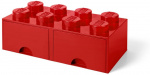 LEGO storage stone with drawers 8 studs 50 x 18 cm PP red