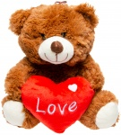LG-Imports teddy bear with heart 24 cm brown