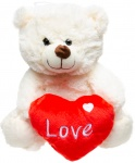 LG-Imports teddy bear with heart 24 cm white