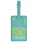 Moses kofferlabel Ticket to Anywhere11 x 7 cm turquoise