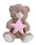 TOM teddy bear star junior 25 cm plush brown/pink